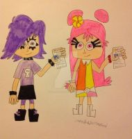 Ami and Yumi with their driver's licenses by DarkRoseDiamond123
