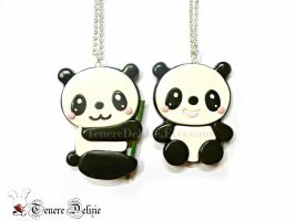 Kawaii panda necklace polymer clay by TenereDelizie