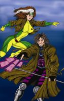 Gambit and Rouge by plbcomics