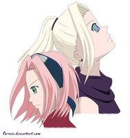 Sakura and Ino by Cornini