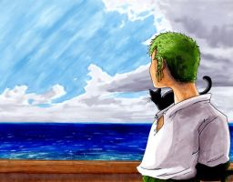 Zoro at Sea with Kitty by ellensama