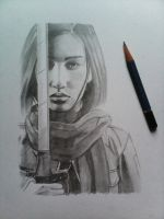 Mikasa (live action movie) quick sketch :D by edcarrascal