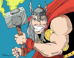 Thor Doodle by Dinuguan