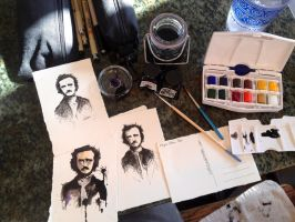 Edgar Allan Poe-stcards!! by LordColinOneal