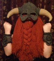 skyrim inspired helm rust beard grey trim bracers by Drgibbs