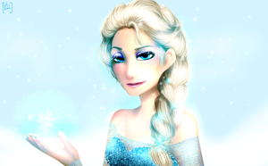 Frost Bite - Elsa Painting by Maxxie-Delu