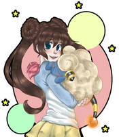 PKMN White 2 - Rose (Rosa?) and Mareep by ThePandaCaffe