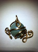 copper and pale blue pendant by xXHallowHeartXx
