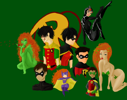 Bat-Family (sort of) Collage (Coloured) by comic-nut-001