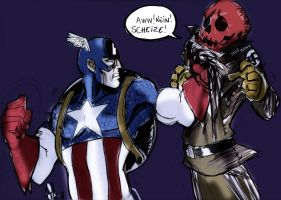 Cap vs Red Skull  colored by scarecrowhassan