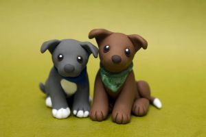 Two Pitties dog sculpture by SculpyPups