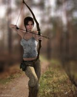 Lara in action with bow 2 by JpauCroft