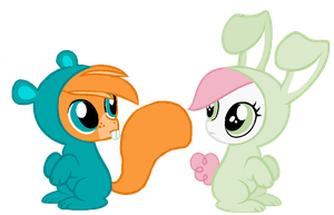 Ponified Shivers and Cherry by LittleSnowyOwl
