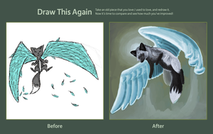 Draw This Again: Winged Black Fox by VirtualManectric