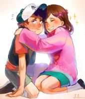 Dipper and Mabel by TakanoDem