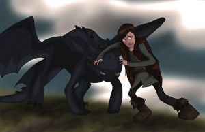 Toothless and Hiccup by Rhosgobel-Rabbit