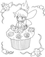 Strawberry Faerie Lineart by CrystallineColey