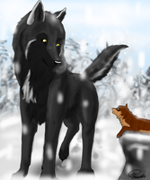 Wolf with Pup by Ahiku-wolf