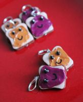 Sculpted fimo PB and J earrings or pendant sets by LittleShopOfLostArts