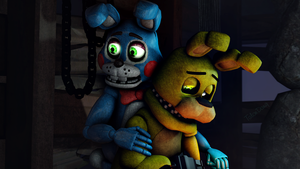 A close one!-Toy and Spring Bonnie(Until Dawn) by TalonDang