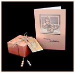 Peach Butterfly Box and Card by Sarahorsomeone