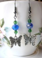 Green and blue butterfly earrings by faranway