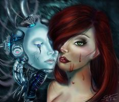 girl and cyborg by DangCamTu