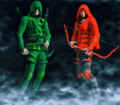 Green Arrow and Arsenal by hiram67