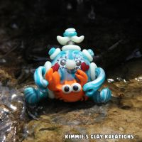Polymer Clay Robot I Love Crabs Glow Character by KIMMIESCLAYKREATIONS