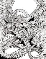 Winged Dragon of Ra - Lineart by WretchedSpawn2012