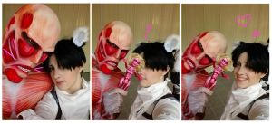 Serious Photos with Colossal and Female Titan by silkybean