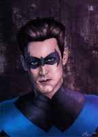 Nightwing  - Colored with Mask by JGiampietro