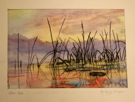Reeds - Watercolor Painting by Numzie