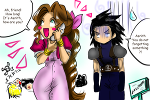 Aerith and Zack in the lifestream by uekiOdiny