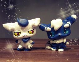 Mr. and Mrs. Meowstic by pia-chu
