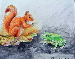 Frog and squirrel by windinthehair