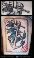 postage stamp tattoo by redtrujillo