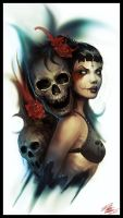 Skulls Roses by Peter-Ortiz