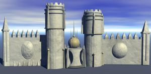 Castle Wall stock by mysticmorning