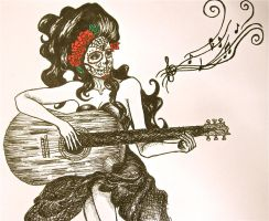 Dia de los Muertos - Guitar by Trista-Willows