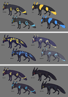 Umbreon Variations by CoryKatze
