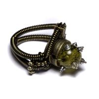 Steampunk Ring Green Amber by CatherinetteRings