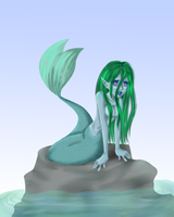 mermaid on a rock by pany-chan