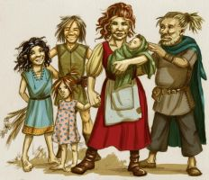 halfling family by kyuhketsuki