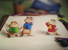 Alvin and the chipmunks (3d drawing by Arthur T. C by ATCdrawings