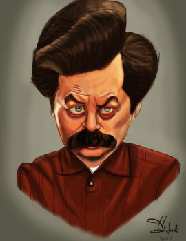 Ron Swanson Caricature by HJacobi