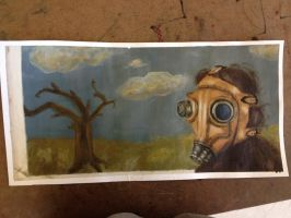 Gas Mask Lady painting 2 by PlasmaGelCookie