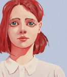 Redhead Girl In White Shirt by Noctulius