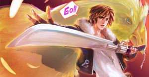 Squall Leonhart and Chocobo by nanshu29