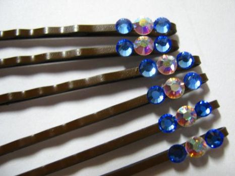 Blue Swarovski Hairpins by Pianochick66